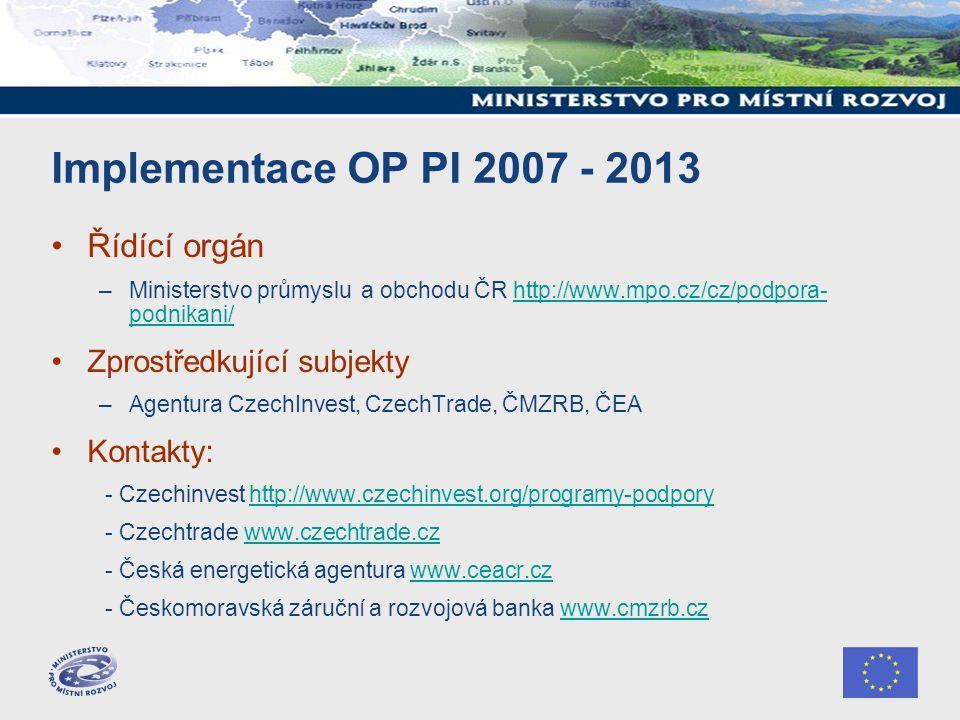 Implementace OP PI 2007 - 2013 Řídící orgán –Ministerstvo průmyslu a obchodu ČR http://www.mpo.cz/cz/podpora- podnikani/http://www.mpo.cz/cz/podpora- podnikani/ Zprostředkující subjekty –Agentura CzechInvest, CzechTrade, ČMZRB, ČEA Kontakty: - Czechinvest http://www.czechinvest.org/programy-podporyhttp://www.czechinvest.org/programy-podpory - Czechtrade www.czechtrade.czwww.czechtrade.cz - Česká energetická agentura www.ceacr.czwww.ceacr.cz - Českomoravská záruční a rozvojová banka www.cmzrb.czwww.cmzrb.cz