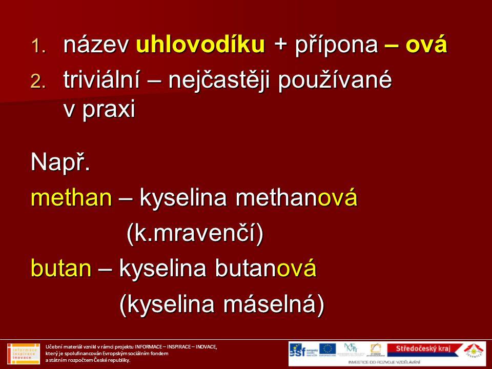 Zástupci karboxylových kyselin Učební materiál vznikl v rámci projektu INFORMACE – INSPIRACE – INOVACE, který je spolufinancován Evropským sociálním fondem a státním rozpočtem České republiky.