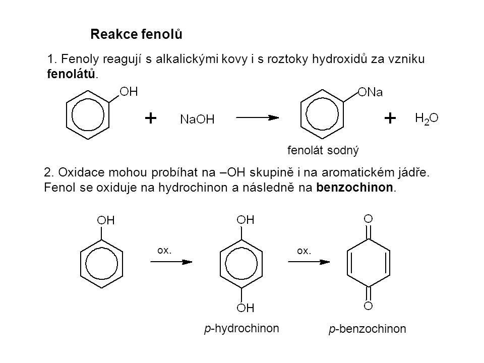 Reakce fenolů 1. Fenoly reagují s alkalickými kovy i s roztoky hydroxidů za vzniku fenolátů. 2. Oxidace mohou probíhat na –OH skupině i na aromatickém