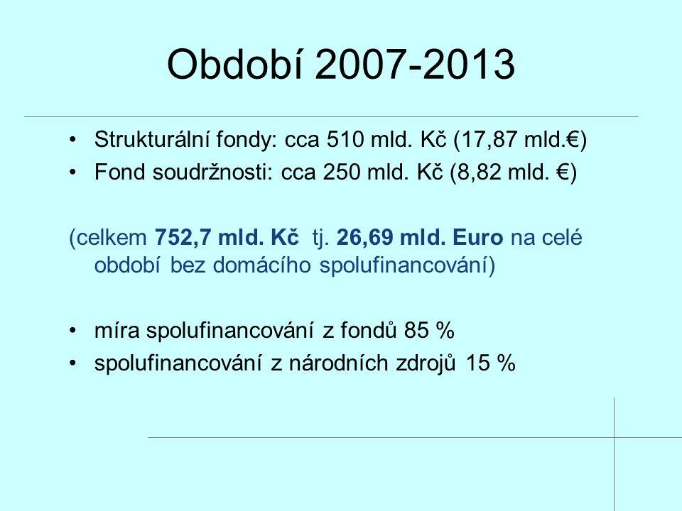 Období 2007-2013 Strukturální fondy: cca 510 mld. Kč (17,87 mld.€) Fond soudržnosti: cca 250 mld. Kč (8,82 mld. €) (celkem 752,7 mld. Kč tj. 26,69 mld