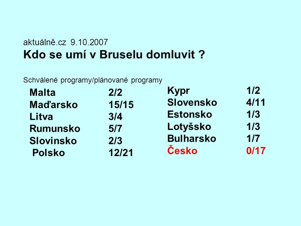 aktuálně.cz 9.10.2007 Kdo se umí v Bruselu domluvit ? Schválené programy/plánované programy Malta2/2 Maďarsko15/15 Litva3/4 Rumunsko5/7 Slovinsko2/3 P