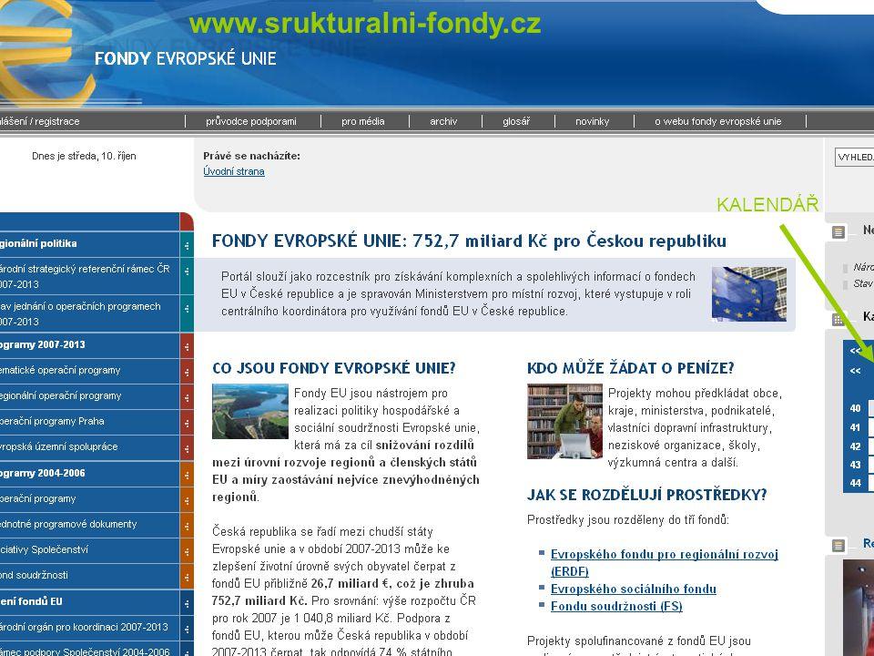 KALENDÁŘ www.srukturalni-fondy.cz