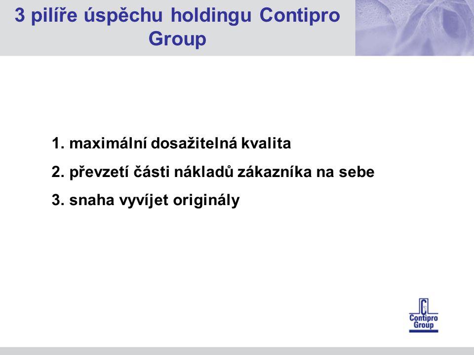 1.maximální dosažitelná kvalita 2.převzetí části nákladů zákazníka na sebe 3.snaha vyvíjet originály 3 pilíře úspěchu holdingu Contipro Group