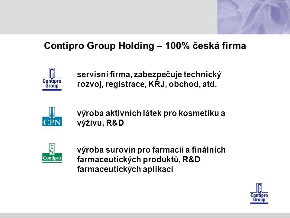 Contipro Group Holding – 100% česká firma servisní firma, zabezpečuje technický rozvoj, registrace, KŘJ, obchod, atd.