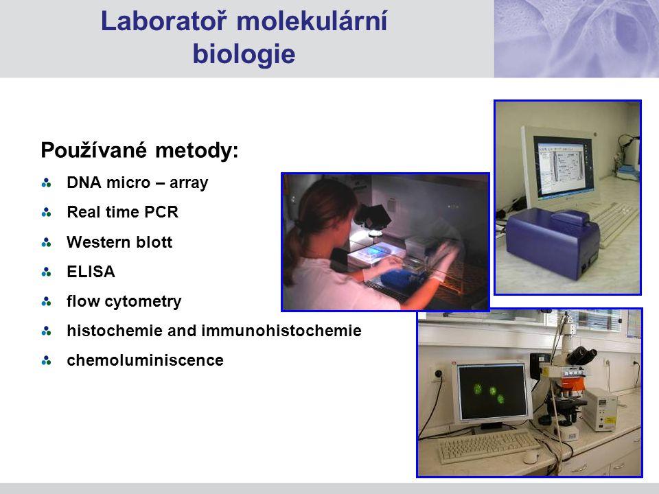 Používané metody: DNA micro – array Real time PCR Western blott ELISA flow cytometry histochemie and immunohistochemie chemoluminiscence Laboratoř molekulární biologie