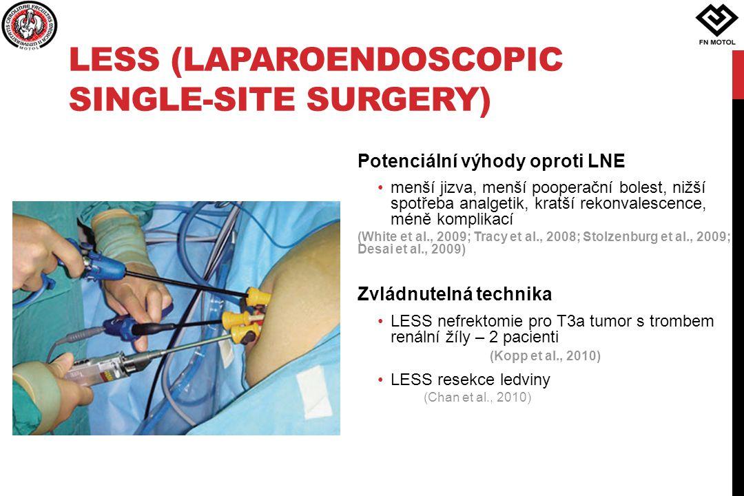 LESS (LAPAROENDOSCOPIC SINGLE-SITE SURGERY) Potenciální výhody oproti LNE menší jizva, menší pooperační bolest, nižší spotřeba analgetik, kratší rekon