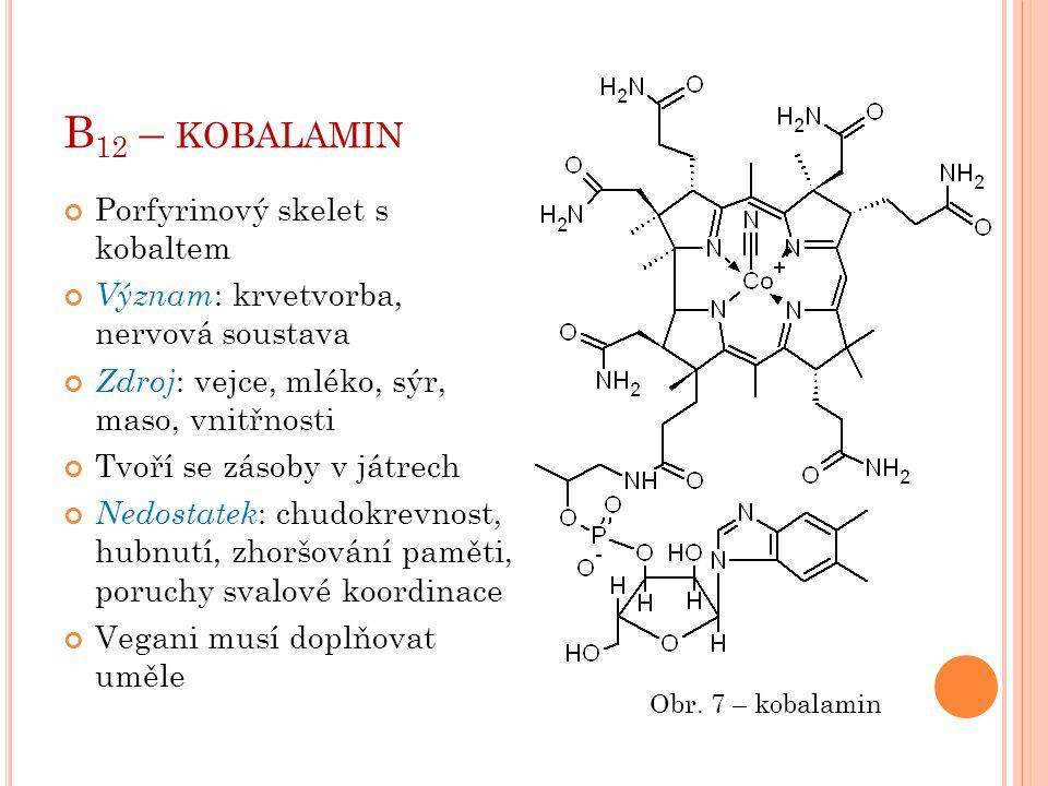 B 12 – KOBALAMIN Porfyrinový skelet s kobaltem Význam : krvetvorba, nervová soustava Zdroj : vejce, mléko, sýr, maso, vnitřnosti Tvoří se zásoby v ját