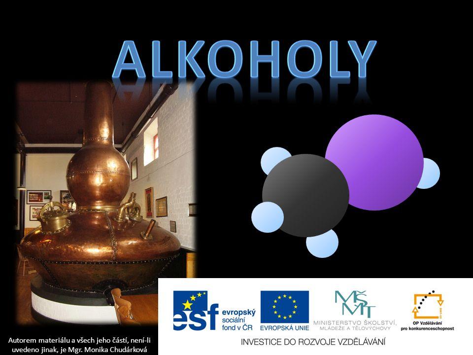 Kyslíkaté deriváty uhlovodíků – obsahují jeden či více atomů kyslíku Alkoholy obsahují hydroxylovou skupinu -OH, názvy končí na -ol.