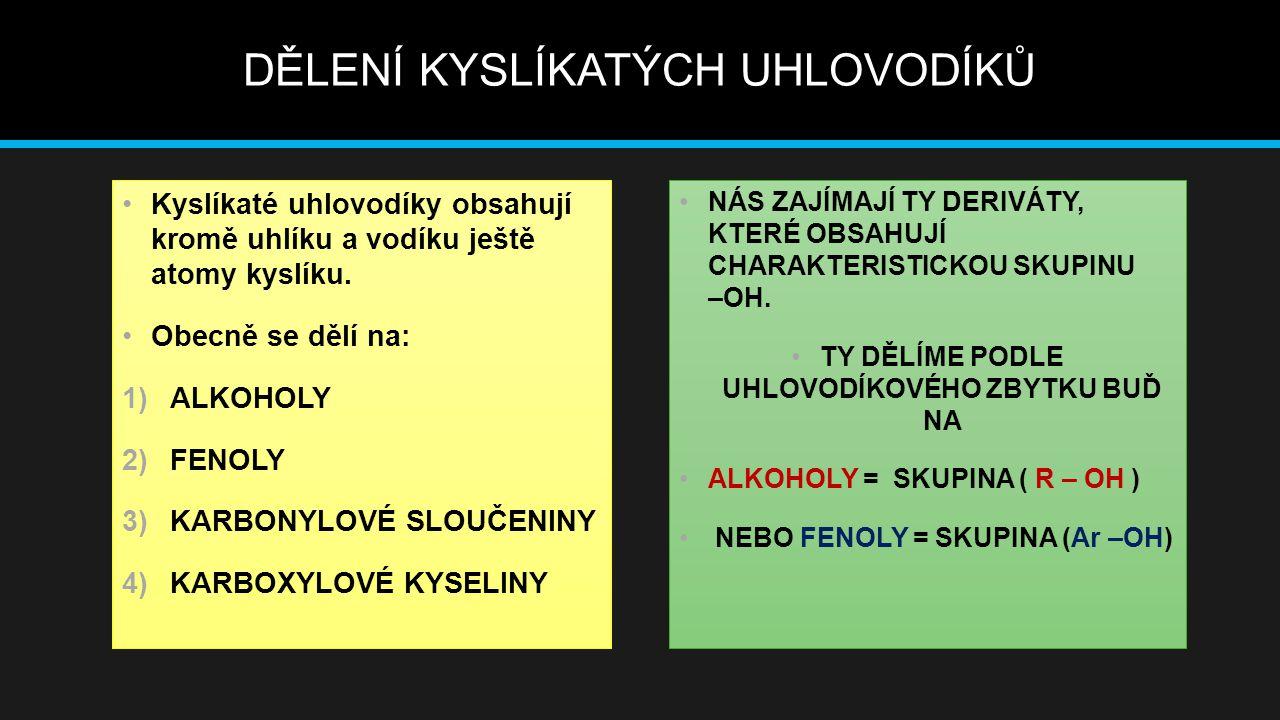 ALKOHOLY Jsou deriváty uhlovodíků, které mají ve své molekule vázány hydroxylovou skupinu – OH.