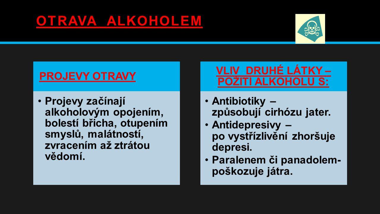 OTRAVA ALKOHOLEM PROJEVY OTRAVY Projevy začínají alkoholovým opojením, bolestí břicha, otupením smyslů, malátností, zvracením až ztrátou vědomí.
