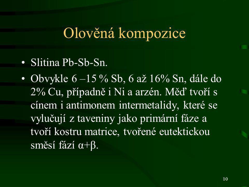 10 Olověná kompozice Slitina Pb-Sb-Sn. Obvykle 6 –15 % Sb, 6 až 16% Sn, dále do 2% Cu, případně i Ni a arzén. Měď tvoří s cínem i antimonem intermetal
