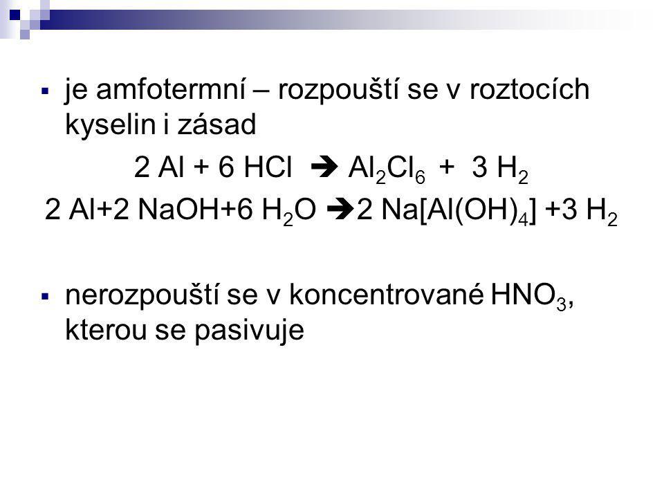  je amfotermní – rozpouští se v roztocích kyselin i zásad 2 Al + 6 HCl  Al 2 Cl 6 + 3 H 2 2 Al+2 NaOH+6 H 2 O  2 Na[Al(OH) 4 ] +3 H 2  nerozpouští