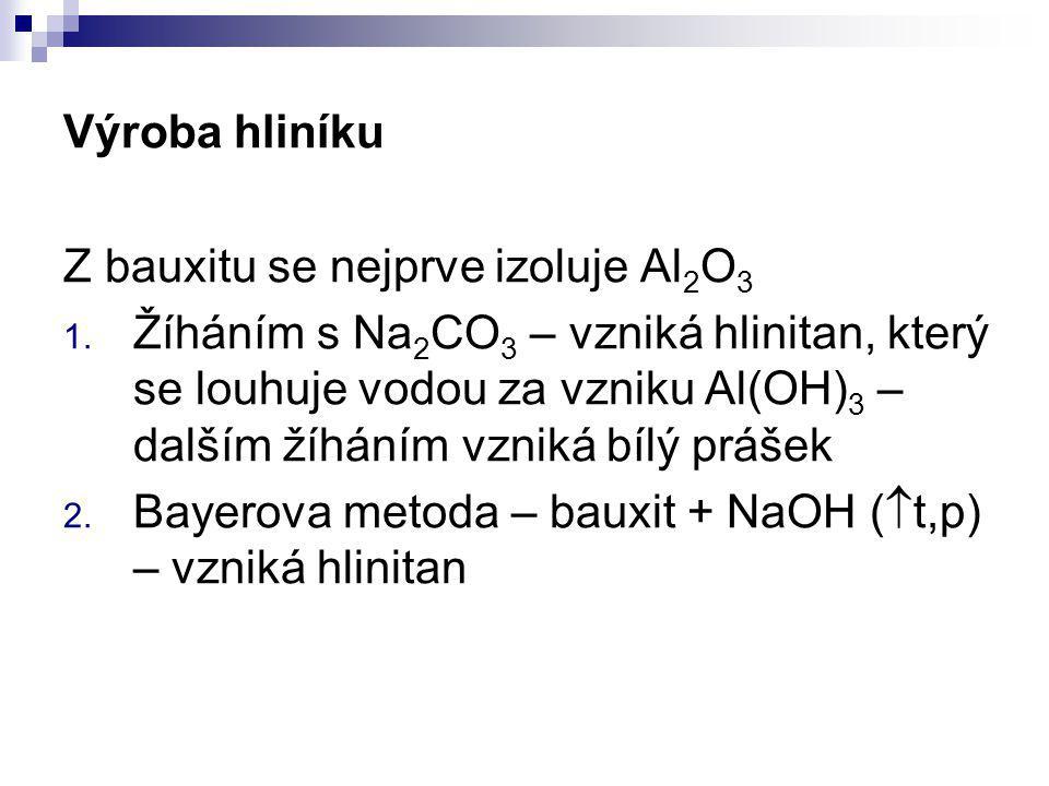 Výroba hliníku Z bauxitu se nejprve izoluje Al 2 O 3 1. Žíháním s Na 2 CO 3 – vzniká hlinitan, který se louhuje vodou za vzniku Al(OH) 3 – dalším žíhá