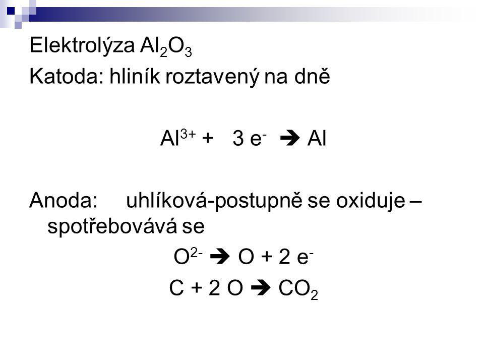 Elektrolýza Al 2 O 3 Katoda: hliník roztavený na dně Al 3+ + 3 e -  Al Anoda:uhlíková-postupně se oxiduje – spotřebovává se O 2-  O + 2 e - C + 2 O