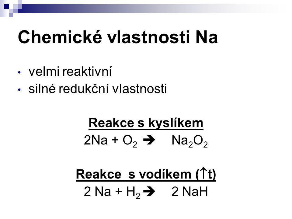 Chemické vlastnosti Na velmi reaktivní silné redukční vlastnosti Reakce s kyslíkem 2Na + O 2  Na 2 O 2 Reakce s vodíkem (  t) 2 Na + H 2  2 NaH