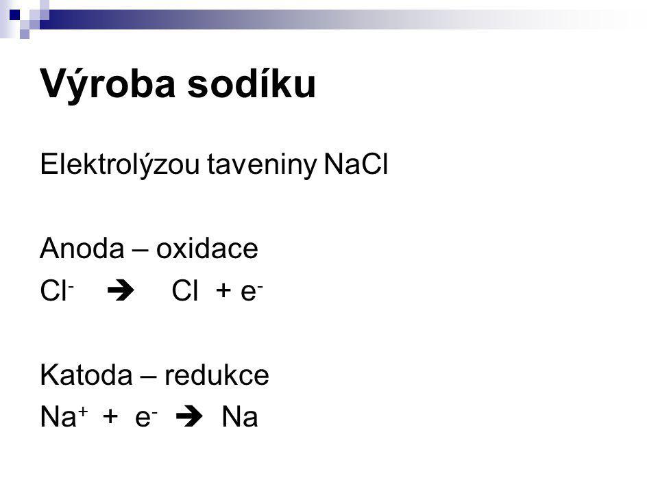 Výroba sodíku Elektrolýzou taveniny NaCl Anoda – oxidace Cl -  Cl + e - Katoda – redukce Na + + e -  Na