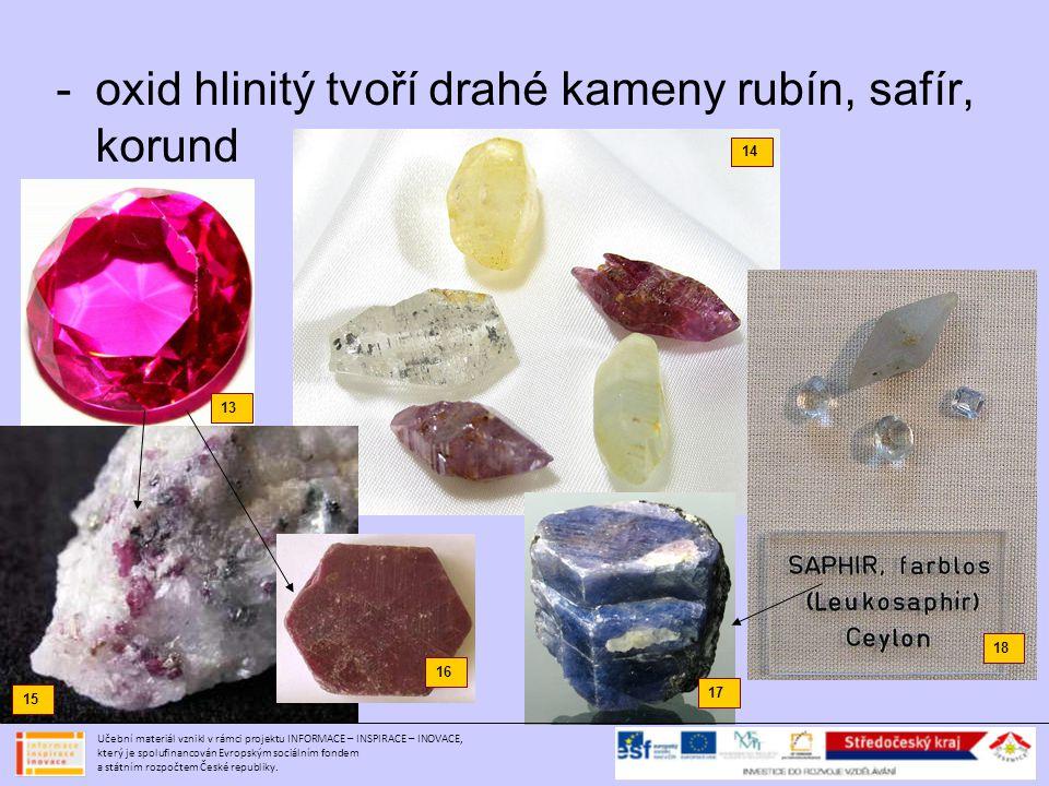 -oxid hlinitý tvoří drahé kameny rubín, safír, korund 13 14 15 17 18 16 Učební materiál vznikl v rámci projektu INFORMACE – INSPIRACE – INOVACE, který