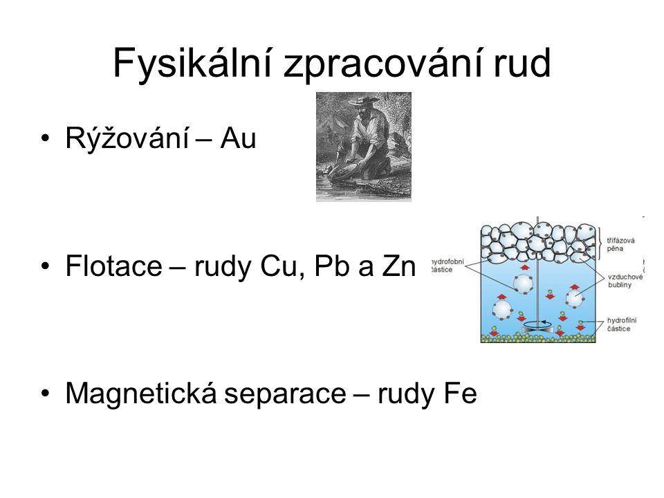 Fysikální zpracování rud Rýžování – Au Flotace – rudy Cu, Pb a Zn Magnetická separace – rudy Fe