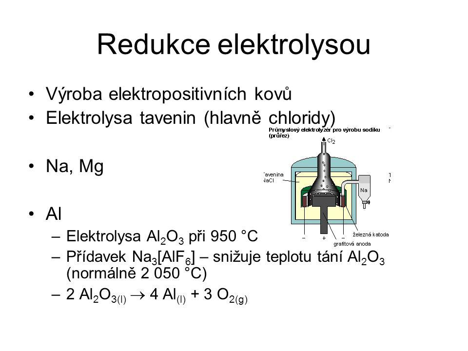 Redukce elektrolysou Výroba elektropositivních kovů Elektrolysa tavenin (hlavně chloridy) Na, Mg Al –Elektrolysa Al 2 O 3 při 950 °C –Přídavek Na 3 [A