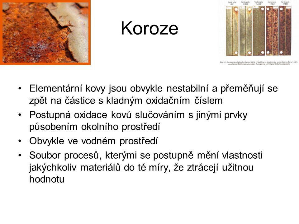 Koroze Elementární kovy jsou obvykle nestabilní a přeměňují se zpět na částice s kladným oxidačním číslem Postupná oxidace kovů slučováním s jinými pr
