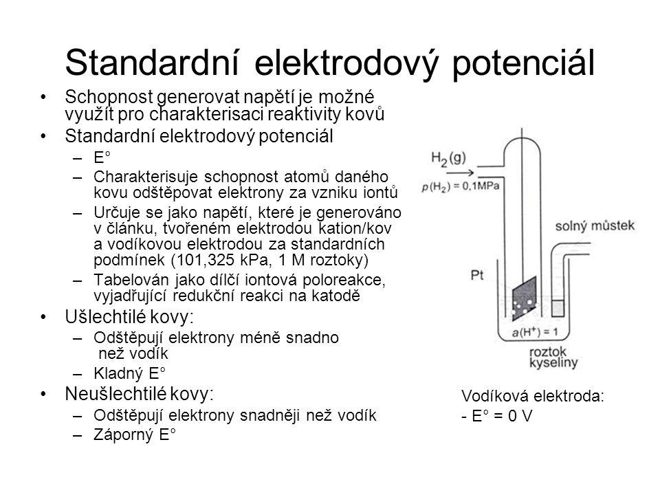 Standardní elektrodový potenciál Schopnost generovat napětí je možné využít pro charakterisaci reaktivity kovů Standardní elektrodový potenciál –E° –C