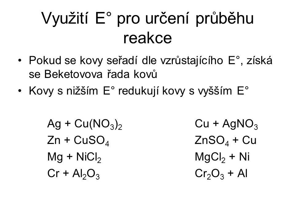 Využití E° pro určení průběhu reakce Pokud se kovy seřadí dle vzrůstajícího E°, získá se Beketovova řada kovů Kovy s nižším E° redukují kovy s vyšším
