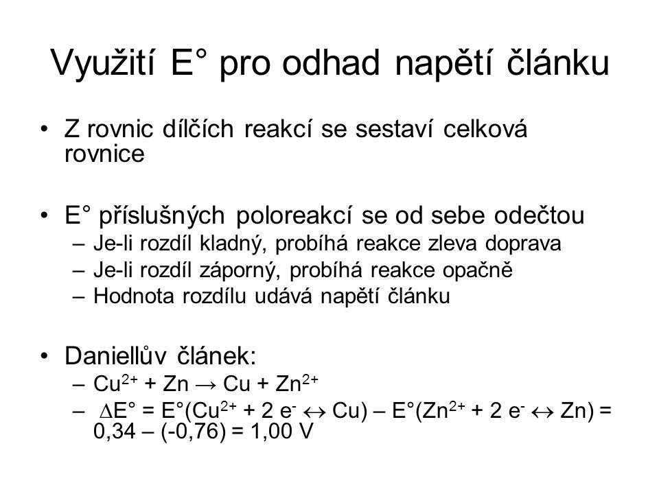 Využití E° pro odhad napětí článku Z rovnic dílčích reakcí se sestaví celková rovnice E° příslušných poloreakcí se od sebe odečtou –Je-li rozdíl kladn