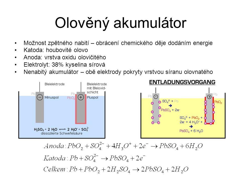 Olověný akumulátor Možnost zpětného nabití – obrácení chemického děje dodáním energie Katoda: houbovité olovo Anoda: vrstva oxidu olovičitého Elektrol