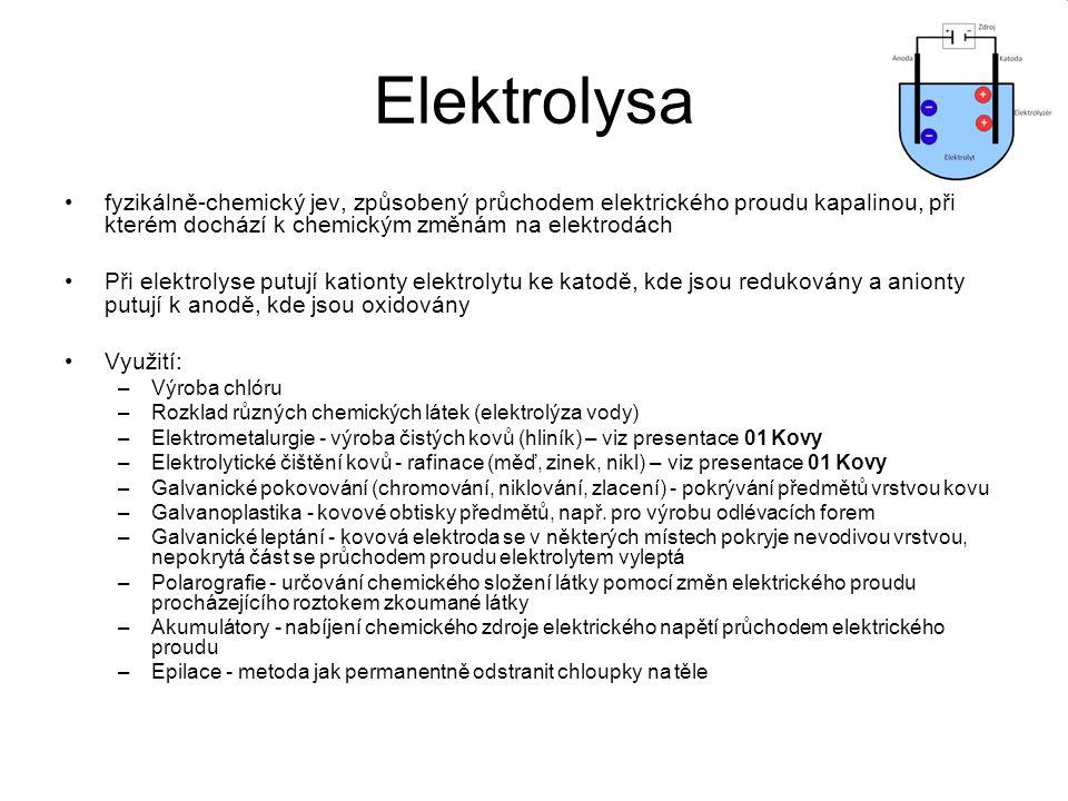 Elektrolysa fyzikálně-chemický jev, způsobený průchodem elektrického proudu kapalinou, při kterém dochází k chemickým změnám na elektrodách Při elektr