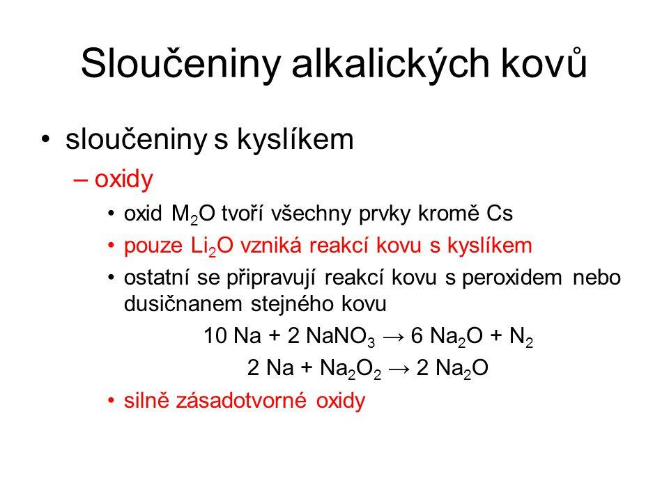 Sloučeniny alkalických kovů sloučeniny s kyslíkem –oxidy oxid M 2 O tvoří všechny prvky kromě Cs pouze Li 2 O vzniká reakcí kovu s kyslíkem ostatní se