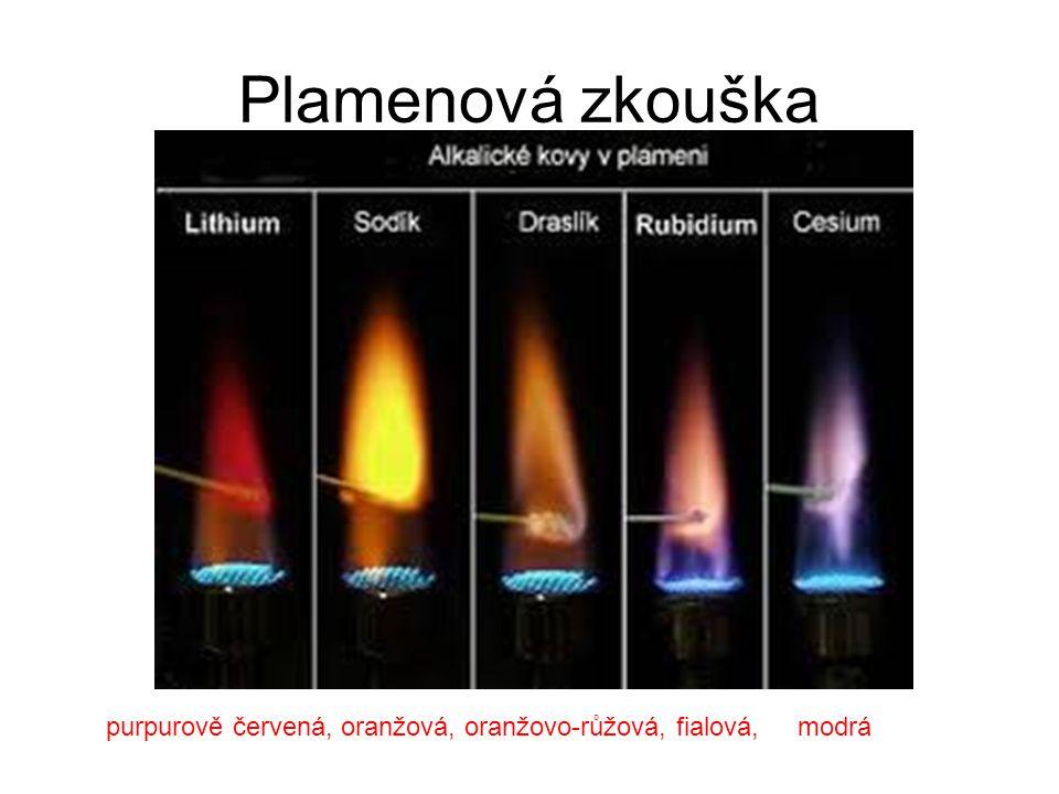 Plamenová zkouška purpurově červená, oranžová, oranžovo-růžová, fialová, modrá
