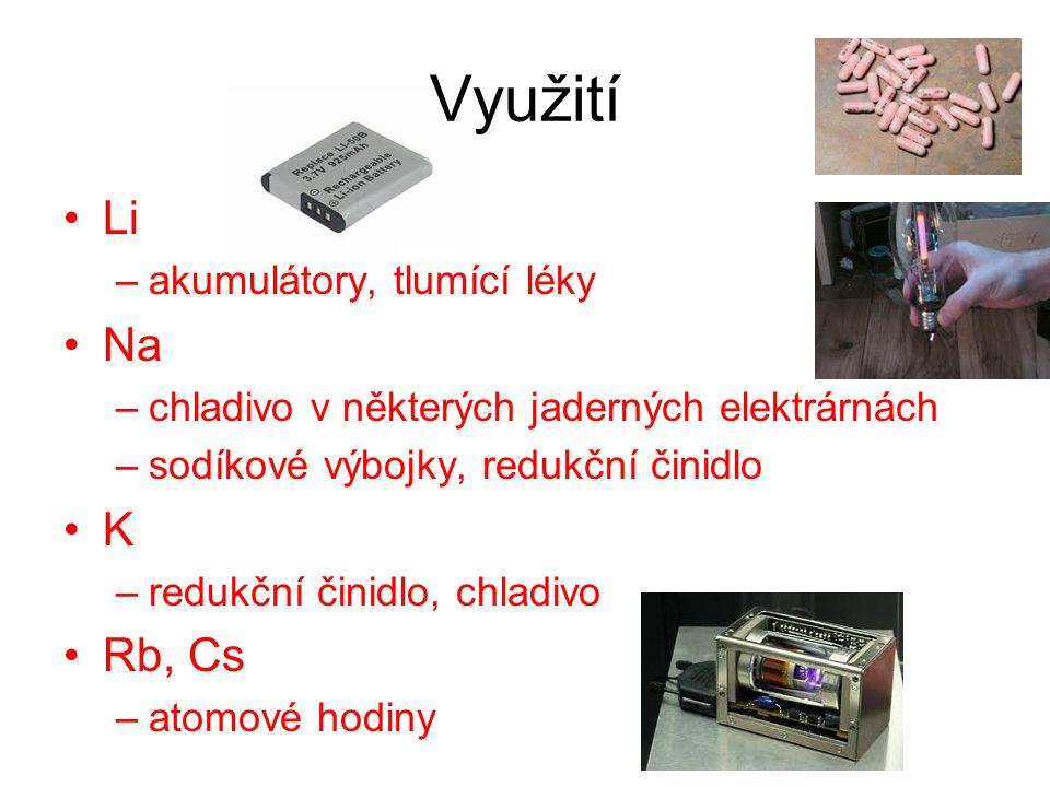 Využití Li –akumulátory, tlumící léky Na –chladivo v některých jaderných elektrárnách –sodíkové výbojky, redukční činidlo K –redukční činidlo, chladivo Rb, Cs –atomové hodiny