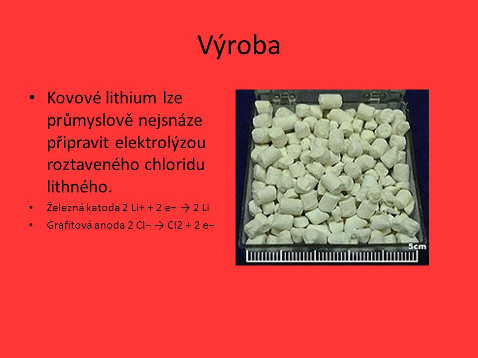 Výroba Kovové lithium lze průmyslově nejsnáze připravit elektrolýzou roztaveného chloridu lithného. Železná katoda 2 Li+ + 2 e− → 2 Li Grafitová anoda