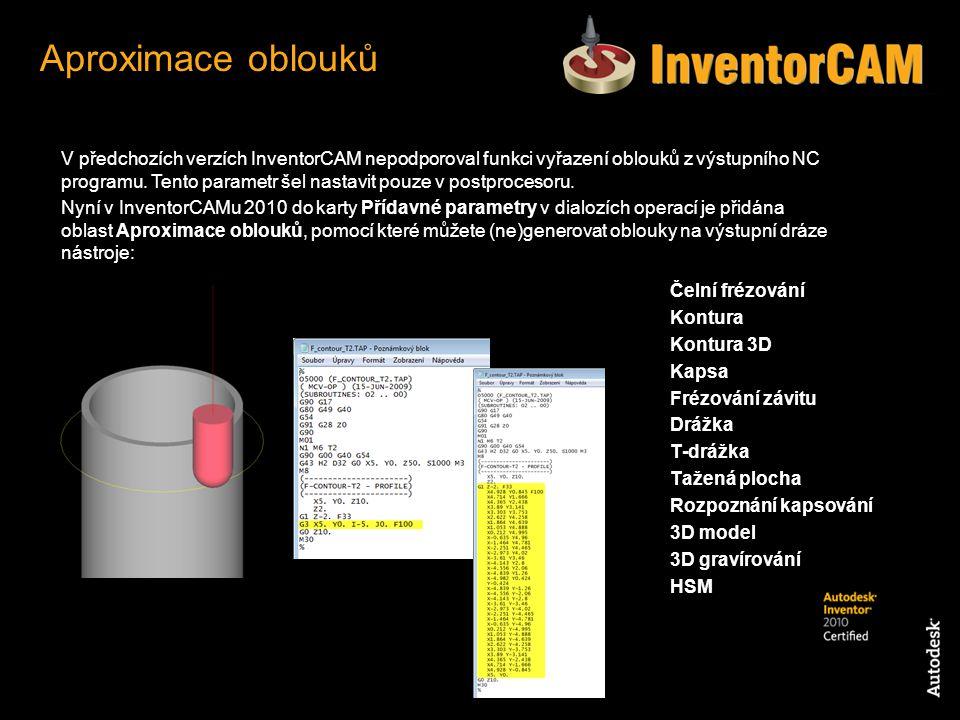 V předchozích verzích InventorCAM nepodporoval funkci vyřazení oblouků z výstupního NC programu. Tento parametr šel nastavit pouze v postprocesoru. Ny