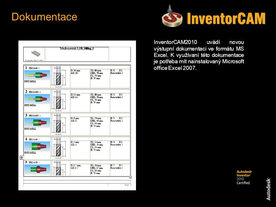 InventorCAM2010 uvádí novou výstupní dokumentaci ve formátu MS Excel. K využívaní této dokumentace je potřeba mít nainstalovaný Microsoft office Excel