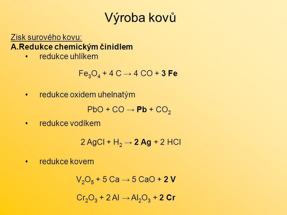 Zisk surového kovu: A.Redukce chemickým činidlem redukce uhlíkem redukce oxidem uhelnatým redukce vodíkem redukce kovem Výroba kovů 2 AgCl + H 2 → 2 A