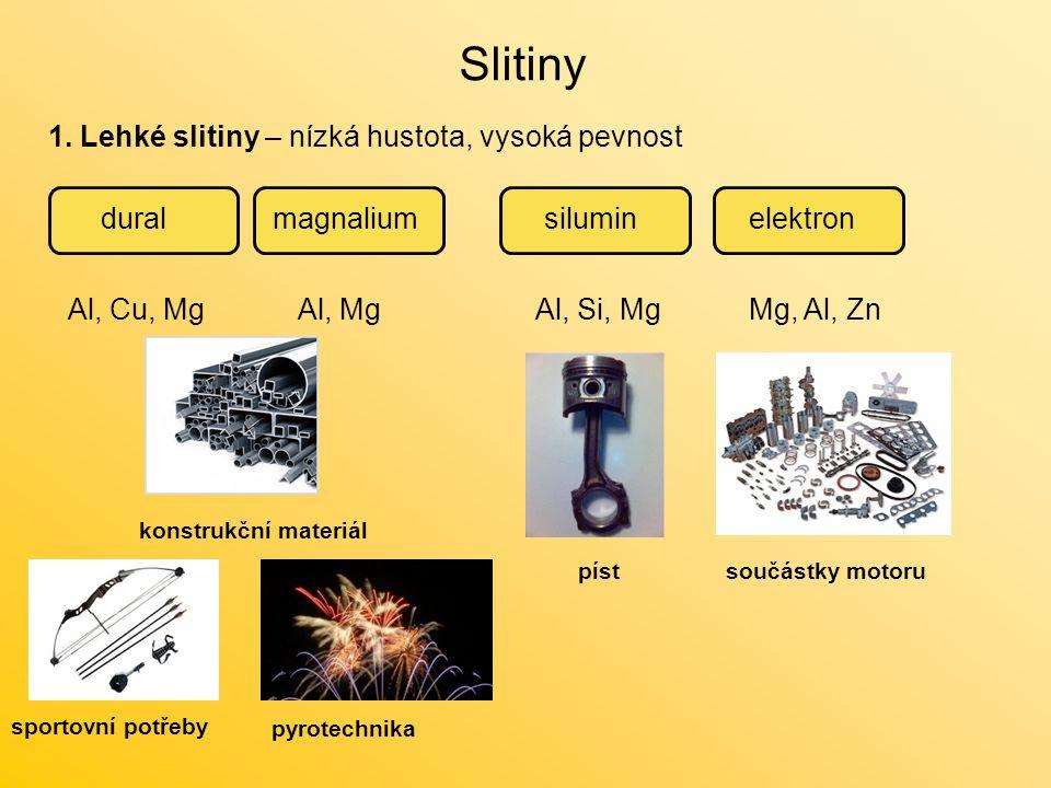 Slitiny 1. Lehké slitiny – nízká hustota, vysoká pevnost duralmagnaliumsiluminelektron Al, Cu, MgAl, MgAl, Si, MgMg, Al, Zn konstrukční materiál pyrot