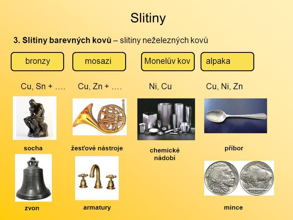 Slitiny 3. Slitiny barevných kovů – slitiny neželezných kovů bronzymosazialpakaMonelův kov Cu, Sn + ….Cu, Zn + ….Ni, CuCu, Ni, Zn socha zvon žesťové n