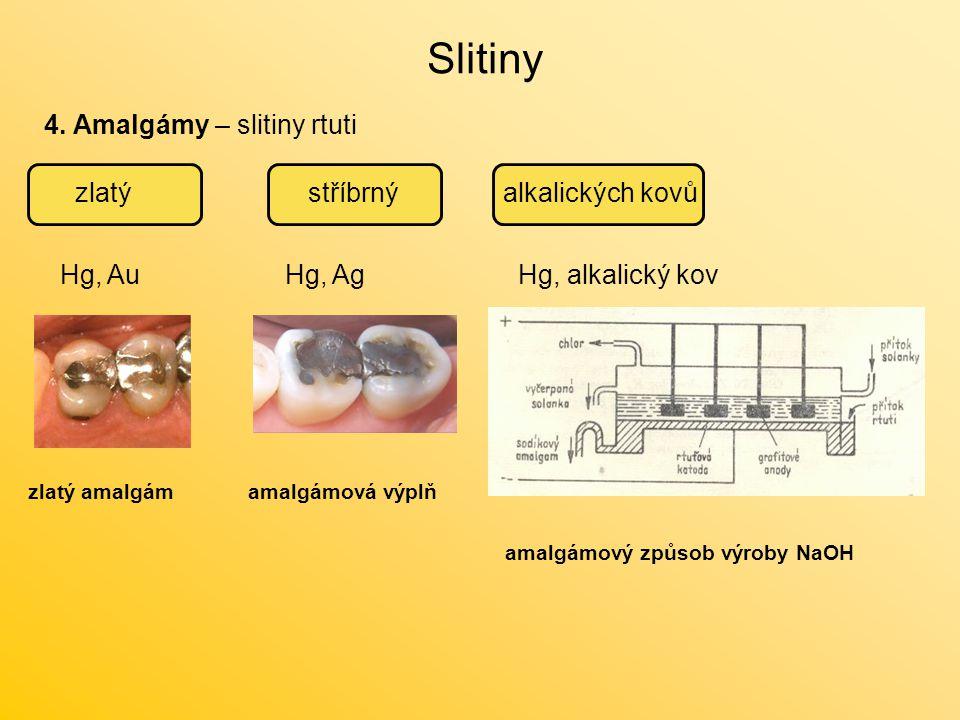 Slitiny 4. Amalgámy – slitiny rtuti zlatýstříbrnýalkalických kovů Hg, AuHg, AgHg, alkalický kov amalgámová výplňzlatý amalgám amalgámový způsob výroby