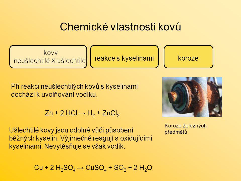 Chemické vlastnosti kovů reakce s kyselinamikoroze Koroze železných předmětů Zn + 2 HCl → H 2 + ZnCl 2 Cu + 2 H 2 SO 4 → CuSO 4 + SO 2 + 2 H 2 O Při r