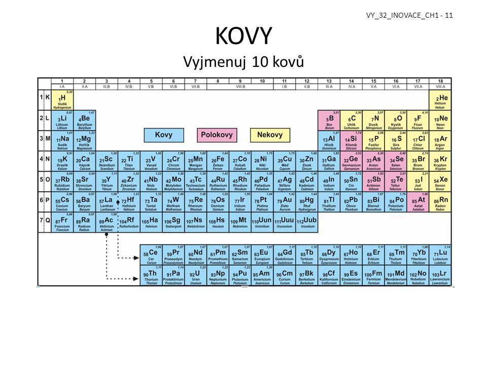 KOVY Vyjmenuj 10 kovů VY_32_INOVACE_CH1 - 11
