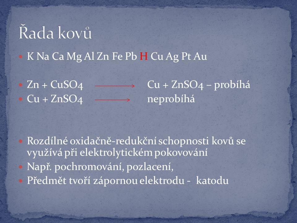 K Na Ca Mg Al Zn Fe Pb H Cu Ag Pt Au Zn + CuSO4 Cu + ZnSO4 – probíhá Cu + ZnSO4 neprobíhá Rozdílné oxidačně-redukční schopnosti kovů se využívá při elektrolytickém pokovování Např.