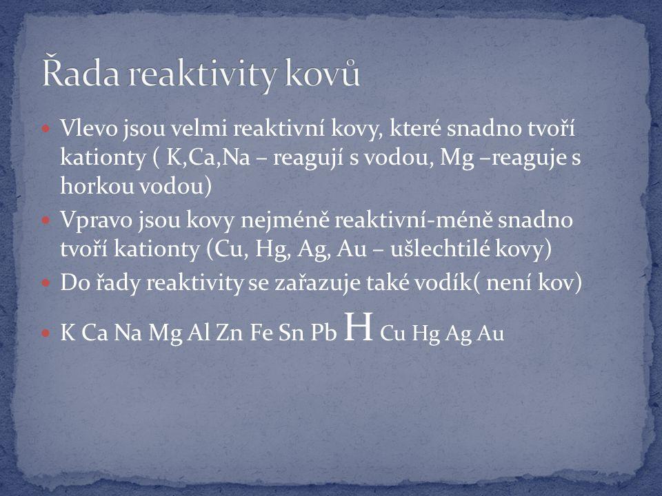 Vlevo jsou velmi reaktivní kovy, které snadno tvoří kationty ( K,Ca,Na – reagují s vodou, Mg –reaguje s horkou vodou) Vpravo jsou kovy nejméně reaktivní-méně snadno tvoří kationty (Cu, Hg, Ag, Au – ušlechtilé kovy) Do řady reaktivity se zařazuje také vodík( není kov) K Ca Na Mg Al Zn Fe Sn Pb H Cu Hg Ag Au