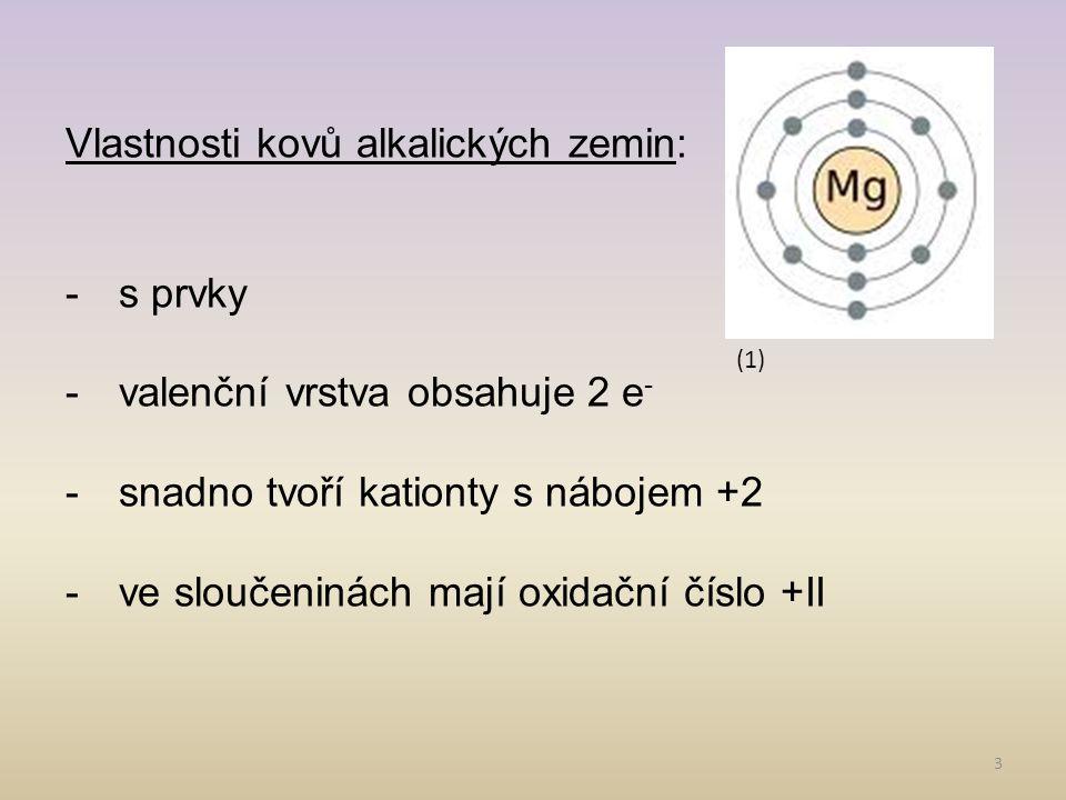 3 Vlastnosti kovů alkalických zemin: -s prvky -valenční vrstva obsahuje 2 e - -snadno tvoří kationty s nábojem +2 -ve sloučeninách mají oxidační číslo