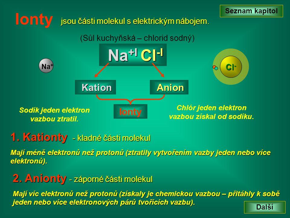 jsou části molekul s elektrickým nábojem. Seznam kapitol Další Ionty 2. Anionty - záporné části molekul Mají víc elektronů než protonů (získaly je che