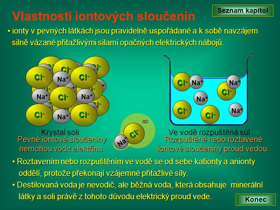 Na + Cl - Na + Cl - Krystal soli R Roztavením nebo rozpuštěním ve vodě se od sebe kationty a anionty oddělí, protože překonají vzájemné přitažlivé síl