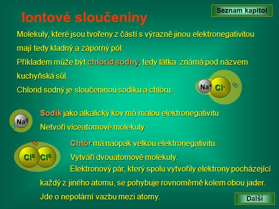 Molekuly, které jsou tvořeny z částí s výrazně jinou elektronegativitou mají tedy kladný a záporný pól. Seznam kapitol Další Iontové sloučeniny Příkla