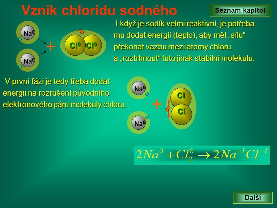 """I když je sodík velmi reaktivní, je potřeba mu dodat energii (teplo), aby měl """"sílu"""" překonat vazbu mezi atomy chloru a """"roztrhnout"""" tuto jinak stabil"""