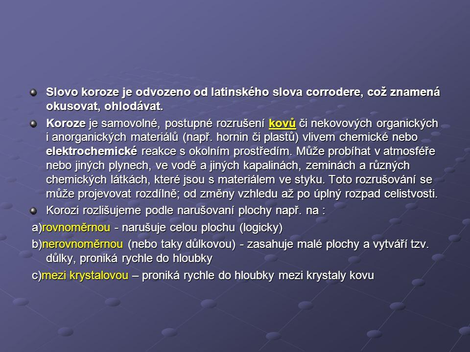 Slovo koroze je odvozeno od latinského slova corrodere, což znamená okusovat, ohlodávat.