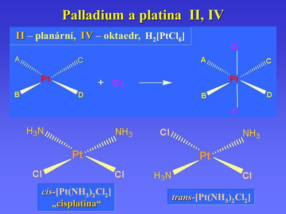 """Palladium a platina II, IV I II V I I – planární, I V – oktaedr, H 2 [PtCl 6 ] cis cis-[Pt(NH 3 ) 2 Cl 2 ] cisplatina """" cisplatina """" trans trans-[Pt(N"""